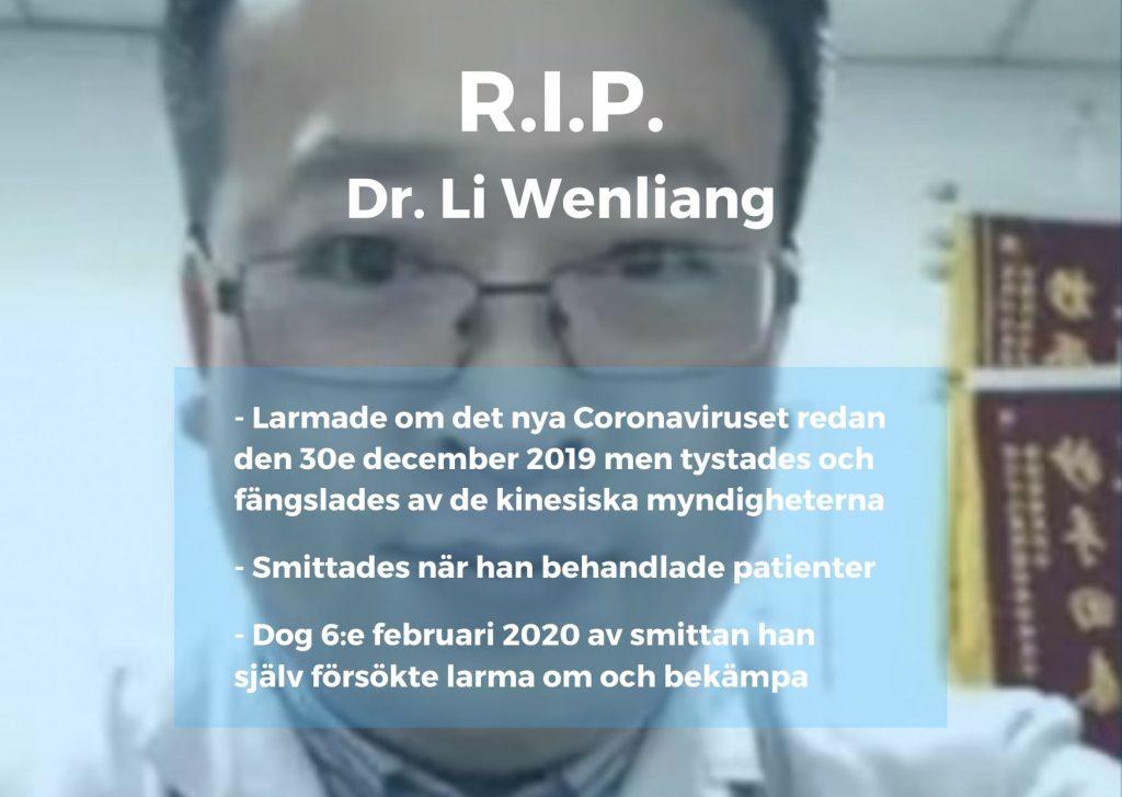 Dr. Li Wenliang varnade om coronaviruset, fängslades, smittades själv och dog själv den 6e februari 2020 - www.alyzme.se