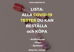 Lista: Alla blodprov antikroppar och självtest och andra test för corona, COVID-19 du kan köpa hem