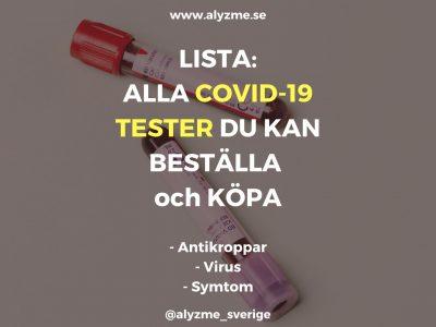 Lista: Alla blodprov och test för corona, COVID-19 du kan köpa och beställa – testa antikroppar eller virus, Werlabs, Medisera, Mydrop, Dante Labs mfl.
