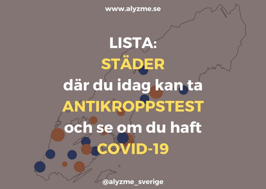Städer där du kan ta antikroppstest för COVID-19 och corona. Werlabs, Medisera - alyzme.se beställ självtester och blodprov