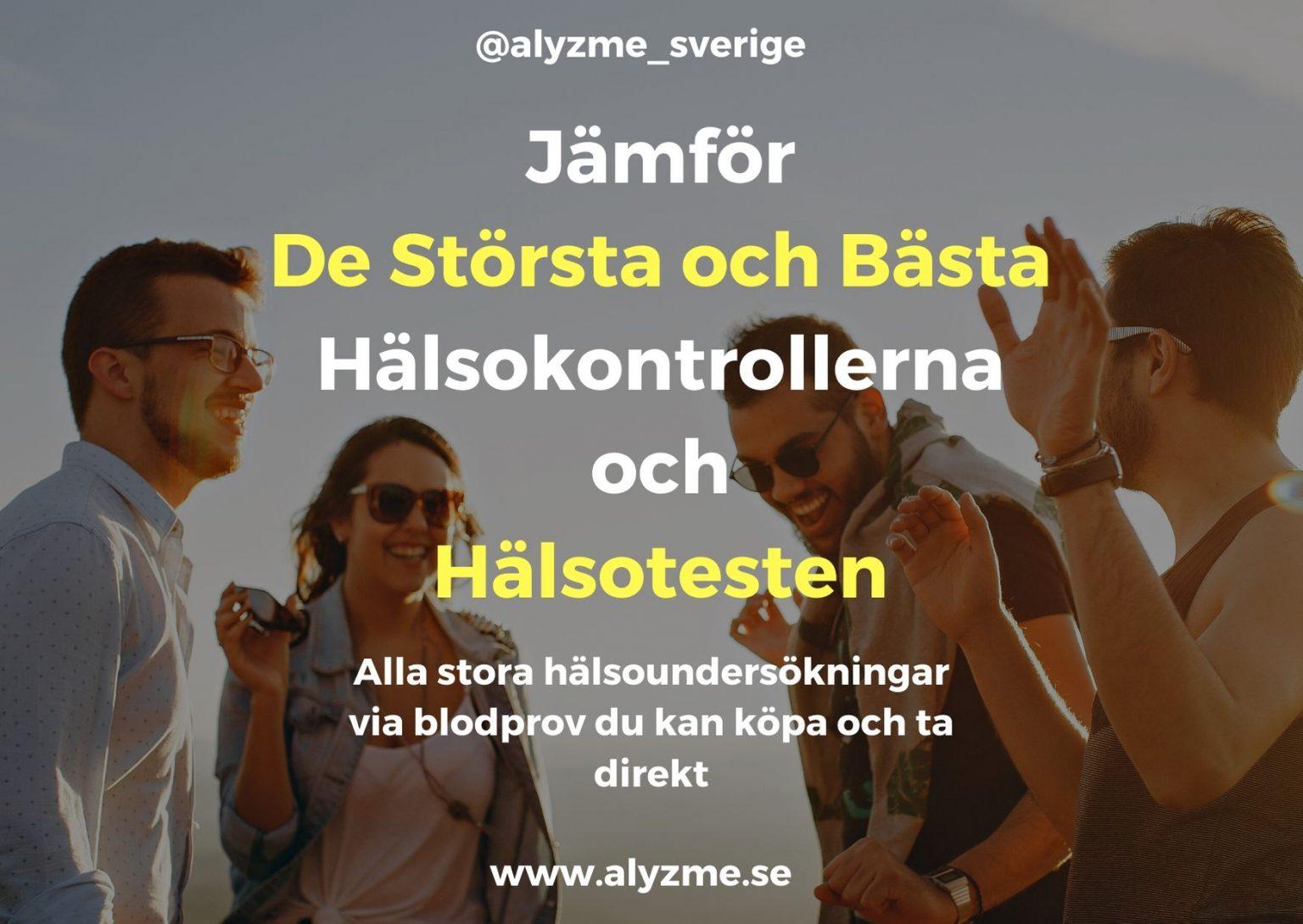 Alla stora och bästa hälsokontroll, hälsoundersökning, hälsotest blodprov lista priser analyser tester - alyzme.se